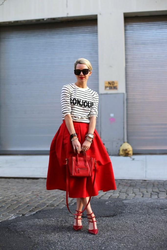 Красная юбка: с чем носить? Фото