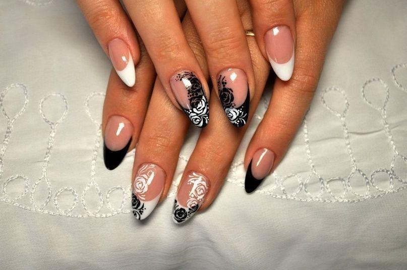 Черно-белый дизайн ногтей френч новинки