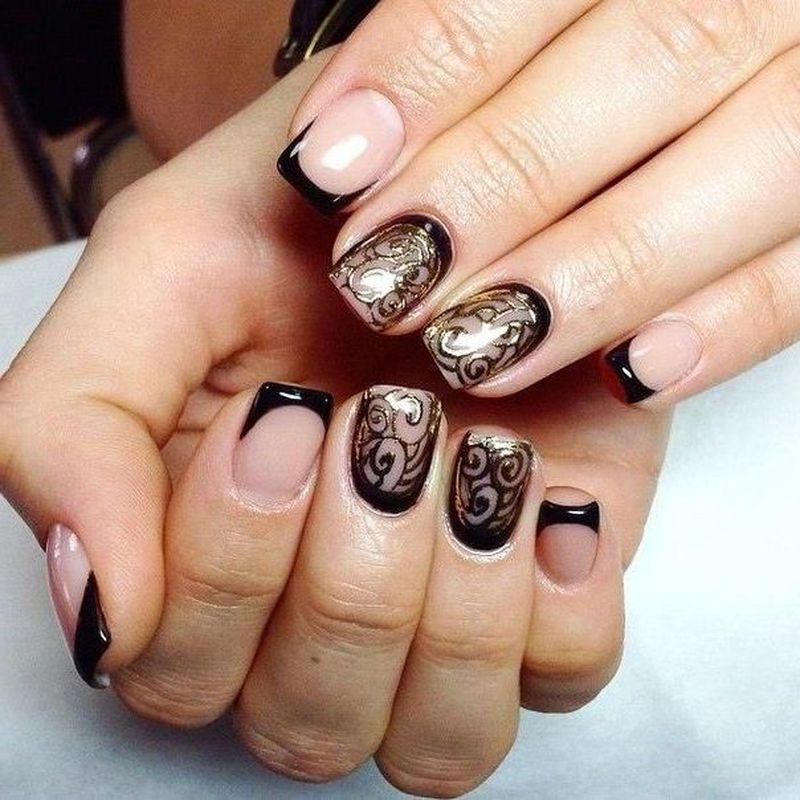 Дизайн ногтей френч черный фото новинки 2016-2017