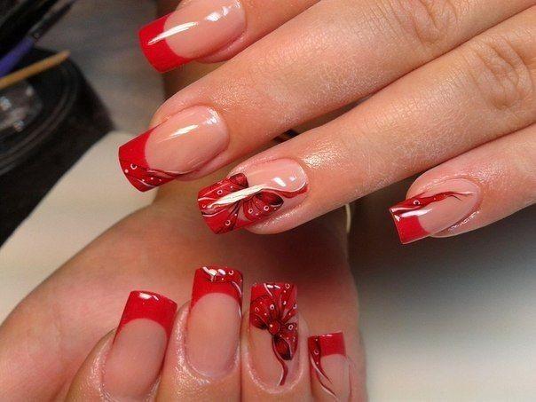 фото ногти красный френч с рисунком