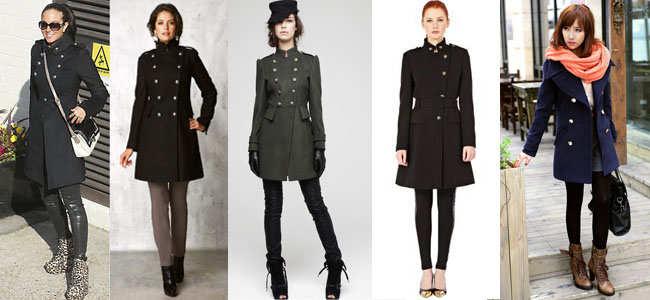 Пальто стиль милитари с чем носить