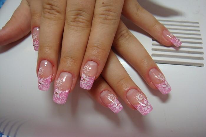 розовый френч фото с рисунком