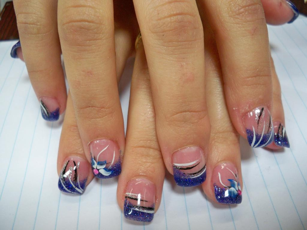 френч с рисунком на коротких ногтях фото
