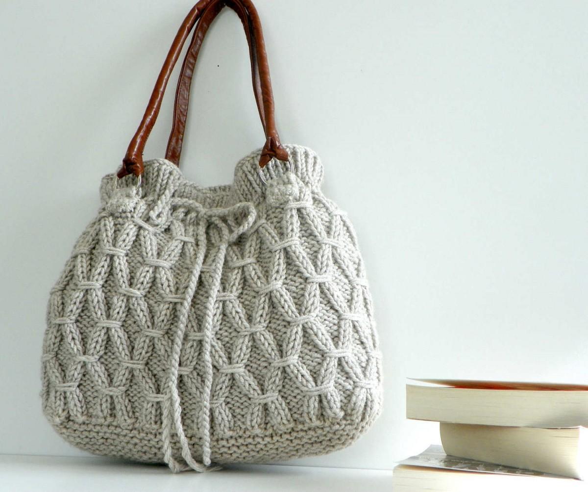 Вязание спицами женские сумки 76