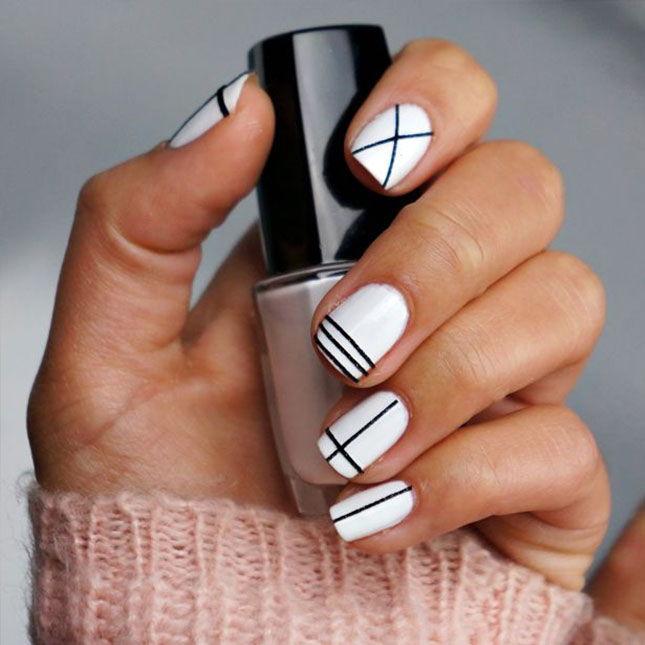 Геометрический маникюр на коротких ногтях