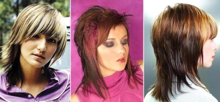 стрижка на средние волосы двойной каскад