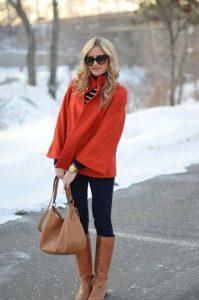 С чем носить рыжие сапоги без каблука