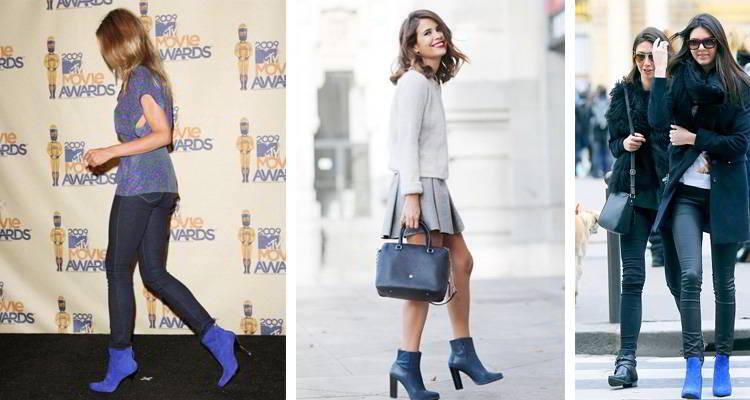 С чем носить синие замшевые сапоги