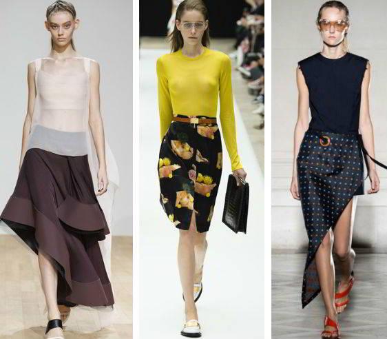 Ассиметричные складки на юбках
