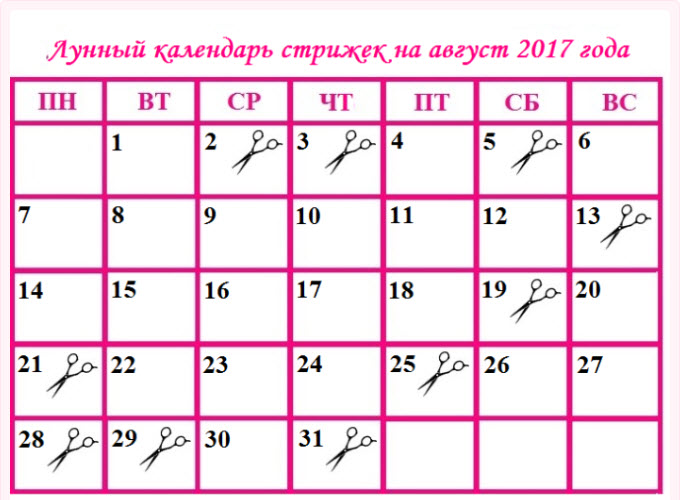 Календарь подстрижки волос 2017