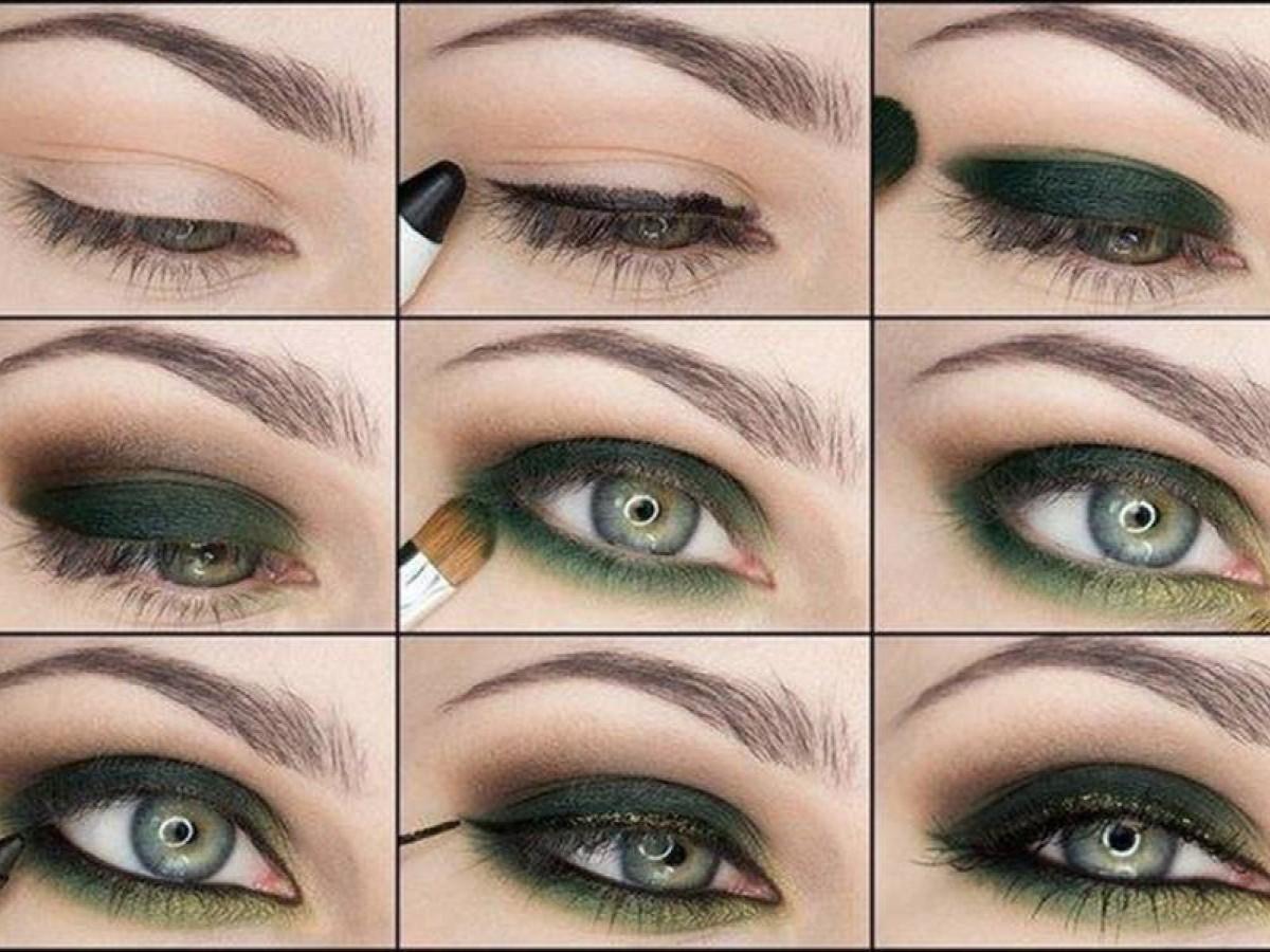 Красивый макияж для зеленых глаз поэтапно фото в домашних