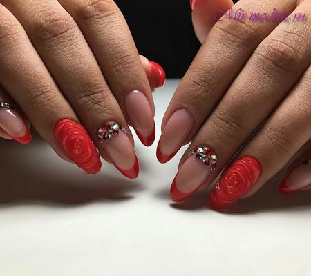 Красный френч на острые ногти новинки