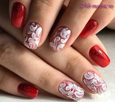 Белый красный дизайн ногтей