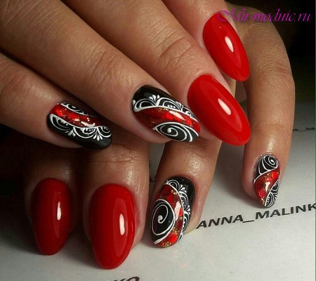 Черно красный дизайн ногтей фото