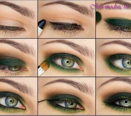 Макияж для зелёных глаз и тёмных волос фото пошагово