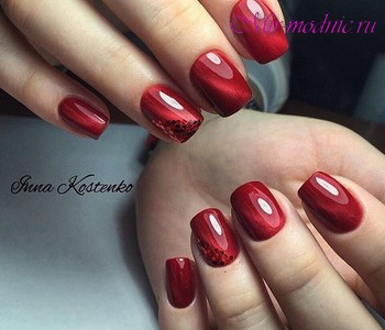 Красный дизайн ногтей 2018
