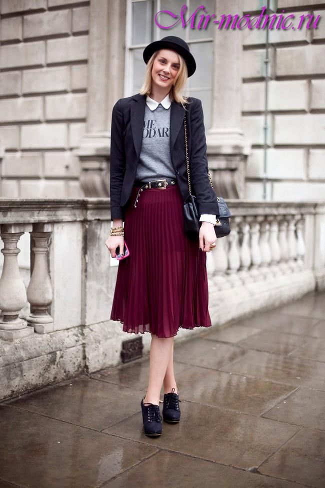 C чем носить юбку плиссе