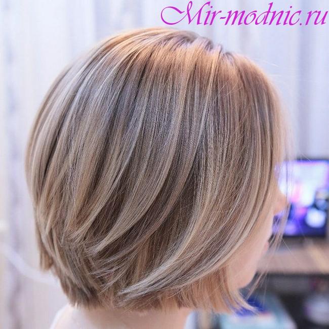 Венецианское мелирование на темные короткие волосы фото