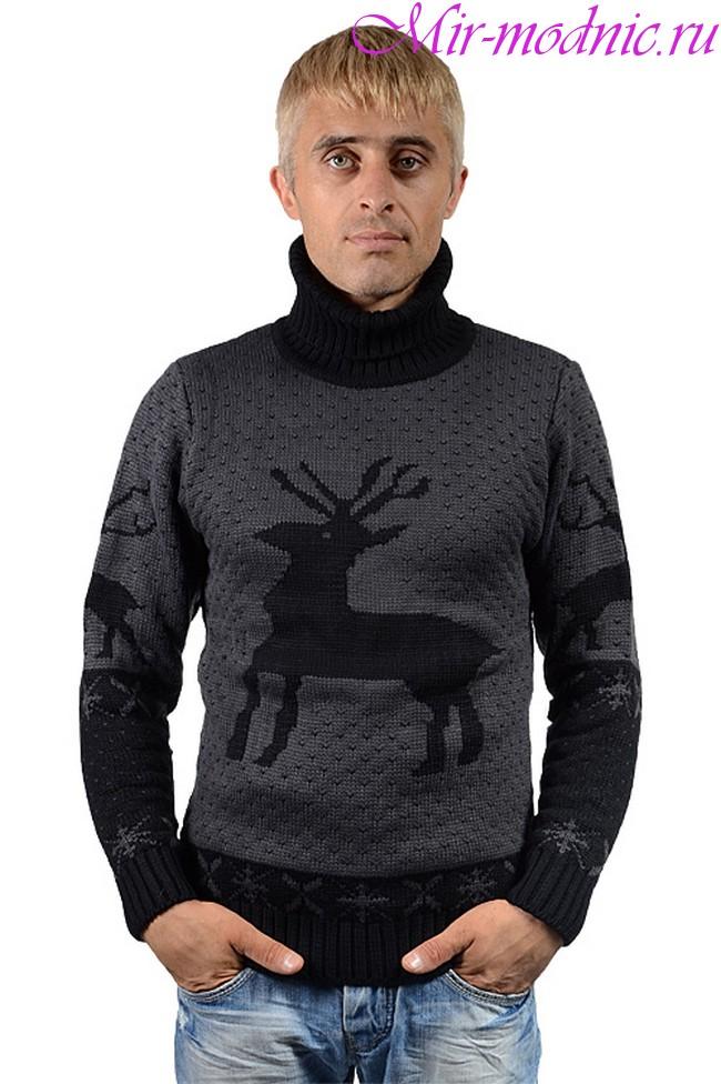 Свитер с оленями мужской